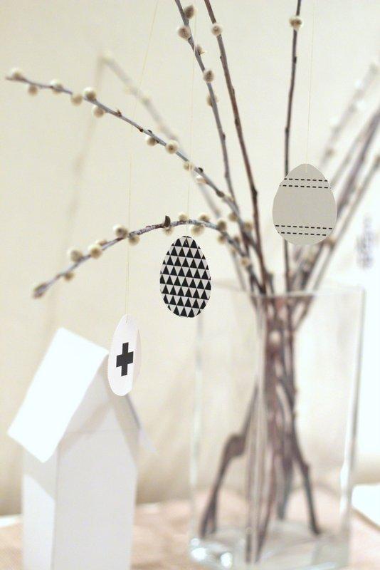 Černobílé Velikonoce - dekorace - Vajíčka